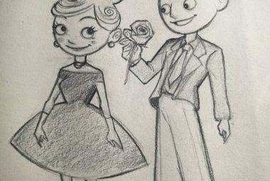 Een jongen geeft een meisje een roos
